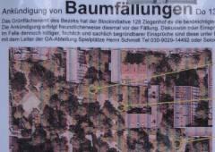 Ankündigung von Baumfällungen durch die Ziegenhof-Ini (Blockinitiative 128 e.V.)