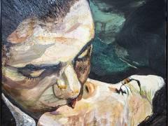 """Gemälde von Cornelia Schleime """"Der Kuss"""" im Bröhan-Museum / Foto © Frank Wecker"""