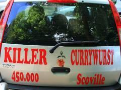 Killer-Currywurst am Klausenerplatz - leider nur auf dem Auto