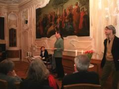 Begrüßung und Vorstellung mit Andrea - links Blanche Kommerell, rechts Veit Jost der Betreiber des Belle Etage am Lietzensee