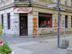 """Vorbereitungen für Filmaufnahmen im früheren Ecklokal """"Stamm-Eck"""" (Ende April 2015)"""
