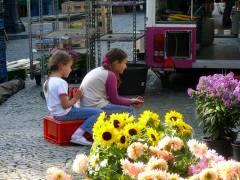 Ein kleines Päuschen muß sein - beim Wochenmarkt auf dem Klausenerplatz (2008)