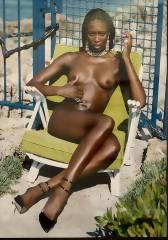 1998 fotografierte Helmut Newton Naomi Campbell am Cap d'Antibes. / Foto vom Foto © Frank Wecker
