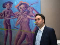 Hans-Georg Kohler in der Galerie von Carlos Hulsch / Foto © Frank Wecker