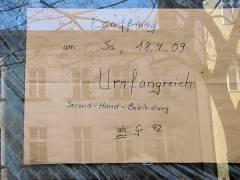 Angekündigte Neueröffnung in der Knobelsdorffstraße 41