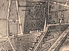 """Ausschnitt aus der """"Übersicht des Bebauungsplanes der Umgebungen Berlins"""", 1862 (Hobrechtplan) / Bildquelle Wikipedia"""