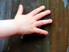 Kinderhände ertasten das Wasser