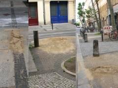 weitere Stellen von abgebauten Gaslaternen auf beiden Seiten der Danckelmannstraße