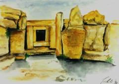 Tempel Mnajdra (Malta) / Grafik Anke Jablinski