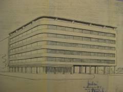 Wohn- und Geschäftshaus am Henriettenplatz / Ursprünglicher Entwurf (1950/51)