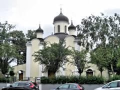 Blick von Westen auf die russisch-orthodoxe Kirche von Wilmersdorf
