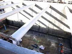 Neubau des Abwasserpumpwerks Charlottenburg - das Fundament des neuen Pumpwerks wird gelegt