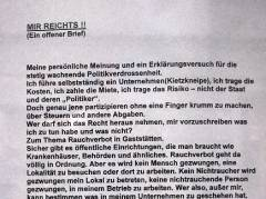 """""""Offener Brief"""" zum Rauchverbot"""