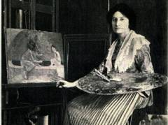 Julie Wolfthorn in ihrem Atelier / Foto Literatur-Salon Potsdamer Straße