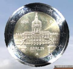 Zwei-Euro-Münze mit dem Schloss Charlottenburg (erschienen 2018)