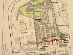 Plan vom Schloßpark zur Pressekonferenz