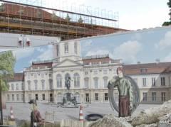 Bemalung auf dem Bauzaun zur Sanierung vor dem Schloß Charlottenburg