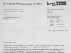 Antwort des Regierenden Bürgermeisters von Berlin an den Mieterbeirat der GEWOBAG