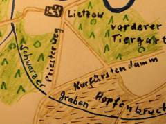 Schwarzer Graben zwischen Botanischem Garten und Spree, um 1680 (nach Fischer/Eckler/Scholtze, Erzählungen aus der Geschichte Charlottenburgs, 1987)
