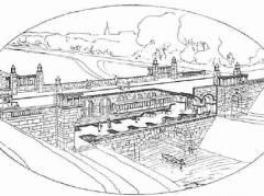 Darstellung des Brückenbauwerks in der Eröffnungsschrift vom Oktober 1913