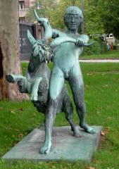 Hans Latt, Knabe mit Ziegenbock (1918)