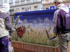 Straßenkunst auf dem Vattenfall-Verteilerkasten in der Seelingstraße