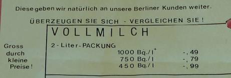 Satireaktion zur Reaktorkatastrophe von Tschernobyl / Gefunden am Klausenerplatz in Berlin-Charlottenburg 1986