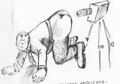 Biometrische Erfassung - oder jeder Arsch ist einmalig / Karikatur © T.Wiese