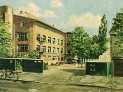 Wilhelmsaue 23, Fabrikneubau von 1924 (R. Heintze, Öl, 1938) / Foto Firmenarchiv der Druckerei Heenemann