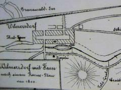 Wilmersdorf mit Fenn, nach einem Revue-Plan von 1800 / Bildquelle Wikipedia