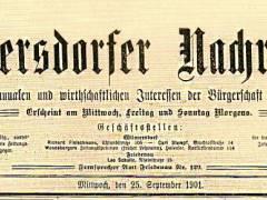 Wilmersdorfer Nachrichten (1901 bis 1905) / Foto Firmenarchiv der Druckerei Heenemann