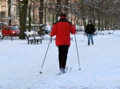 Winter im Kiez - Skifahren auf dem Mittelstreifen der Schloßstraße (Dez. 2014)