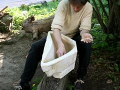 Freiluft-Atelier im Ziegenhof - Michael Stürenburg beim Schaffen